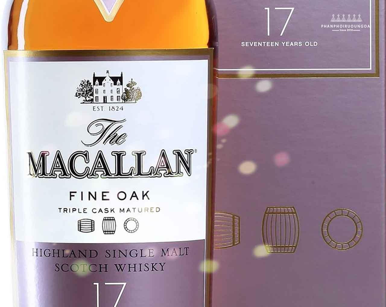 Ảnh chụp cận cảnh sản phẩm rượu Macallan 17 năm Fine Oak