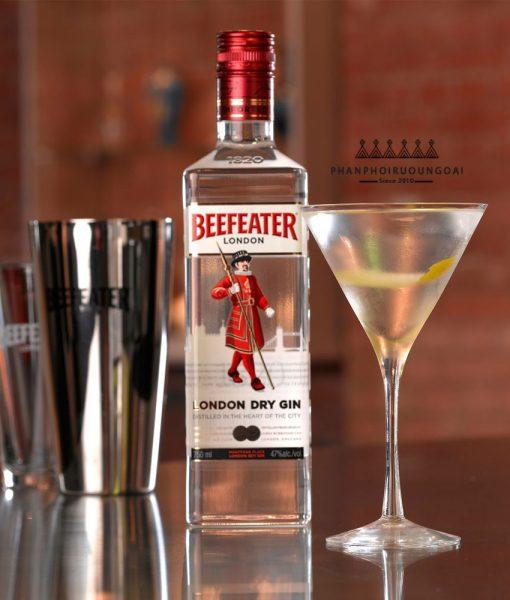 Rượu BeeFeater London Dry Gin và dụng cụ pha chế