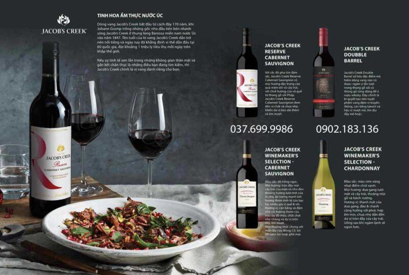 Bộ sưu tập các loại rượu vang Úc Jacob's Creek