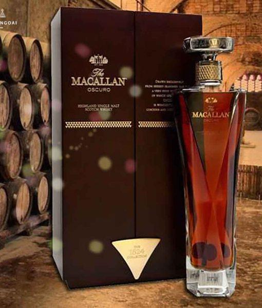 Chai rượu Macallan Oscuro và hộp 2018