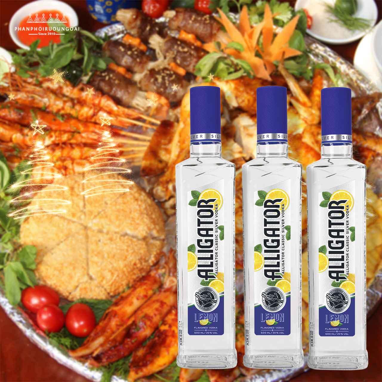 Đồ nướng và rượu vodka cá sấu chanh