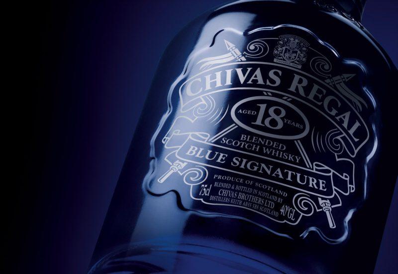 Nhãn chai Rượu Chivas 18 Blue Signature
