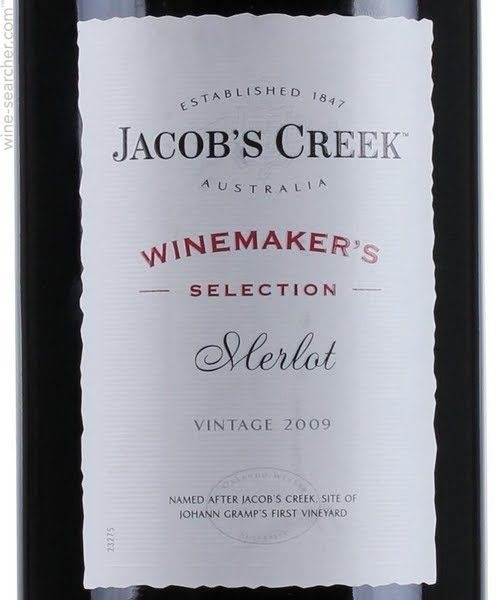 nhãn chai jacob's Creek Wine Maker's Selection Merlot