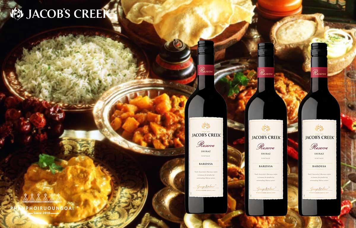 Các đồ ăn với Jacob's Creek Reserve Shiraz