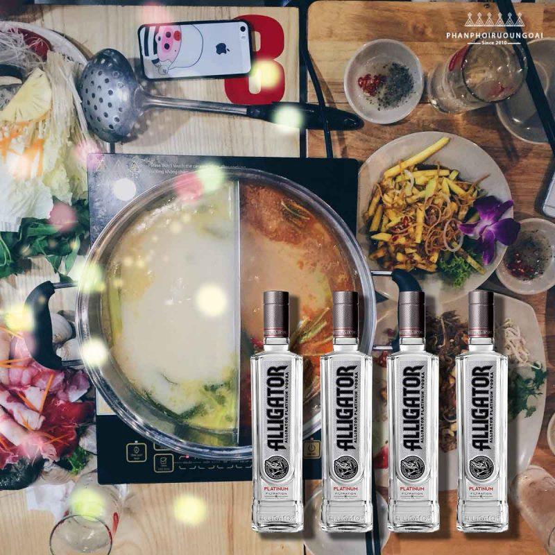 Rượu Vodka Cá Sấu đen rất phù hợp với các món lẩu và nướng