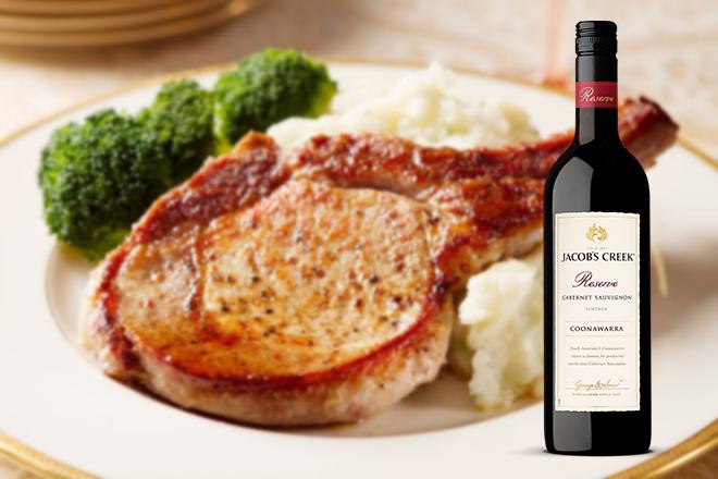 Món sườn cốt lết rất phù hợp cho việc sử dụng rượu Reserve Coonawarra Cabernet Sauvignon