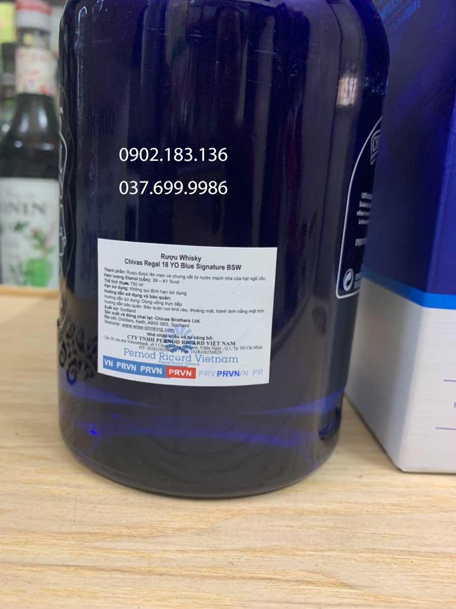 Tem phụ của nhà phân phối rượu chivas 18 Blue Signature tại Việt Nam