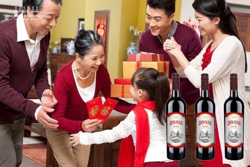 Biếu quà tết rượu vang Divani Red Wine