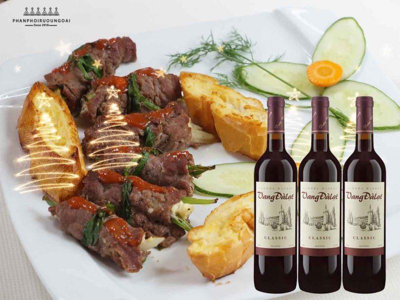Bò cuốn phô mai và rượu vang đà lạt Classic