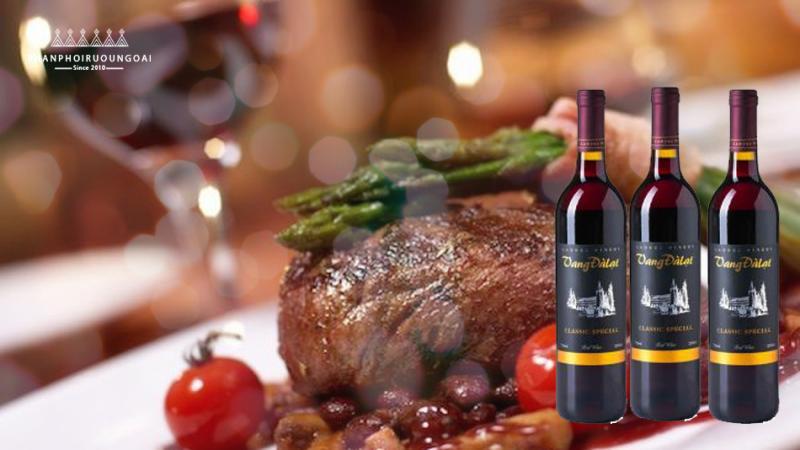 Món ăn thịt bò kết hợp với rượu vang đà lạt Classic Special