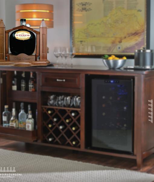 Phối cảnh tủ rượu vang và kệ gỗ rượu vang đà lạt Superior 3 lít