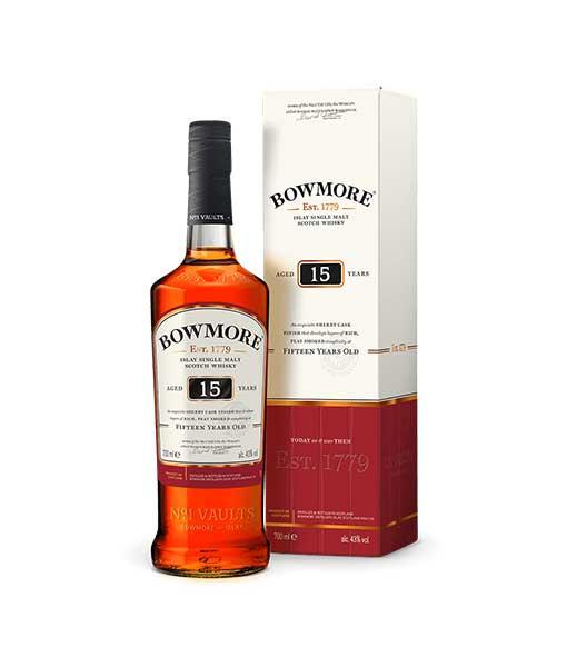 Rượu Bowmore 15 năm tuổi và hộp giấy