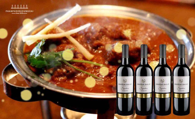 Rượu vang Chateau Dalat Signature Cabernet Sauvignon và thịt cừu