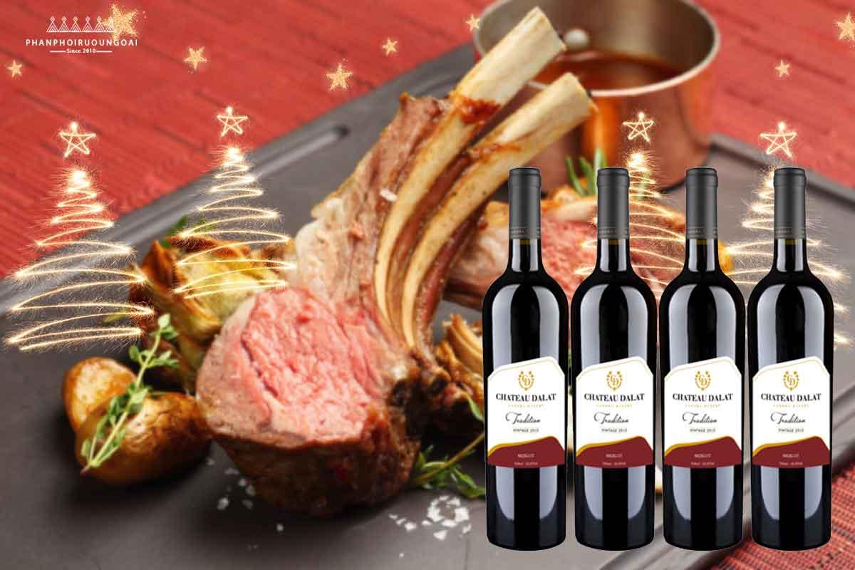 Sườn cừu nướng và rượu vang Chateau Dalat - Merlot