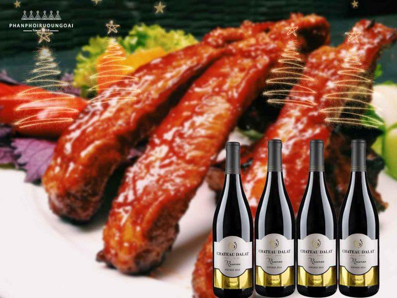 sườn nướng và rượu vang Chateau Dalat Reserve - Merlot