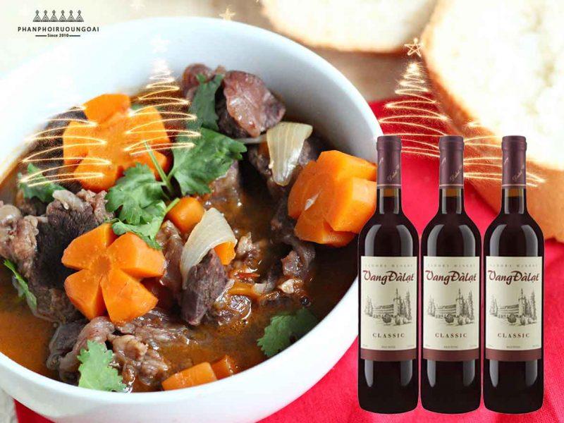 Thịt bò sốt vang và rượu vang đà lạt Classic - Red Wine