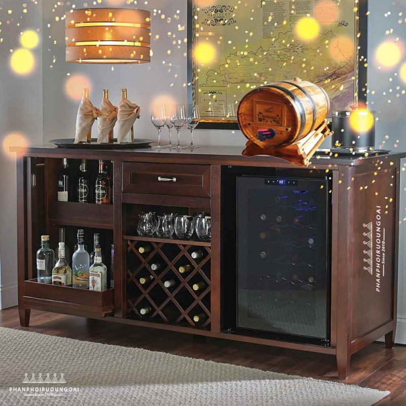 Tủ rượu gia đình và rượu vang đà lạt trống gỗ Superior