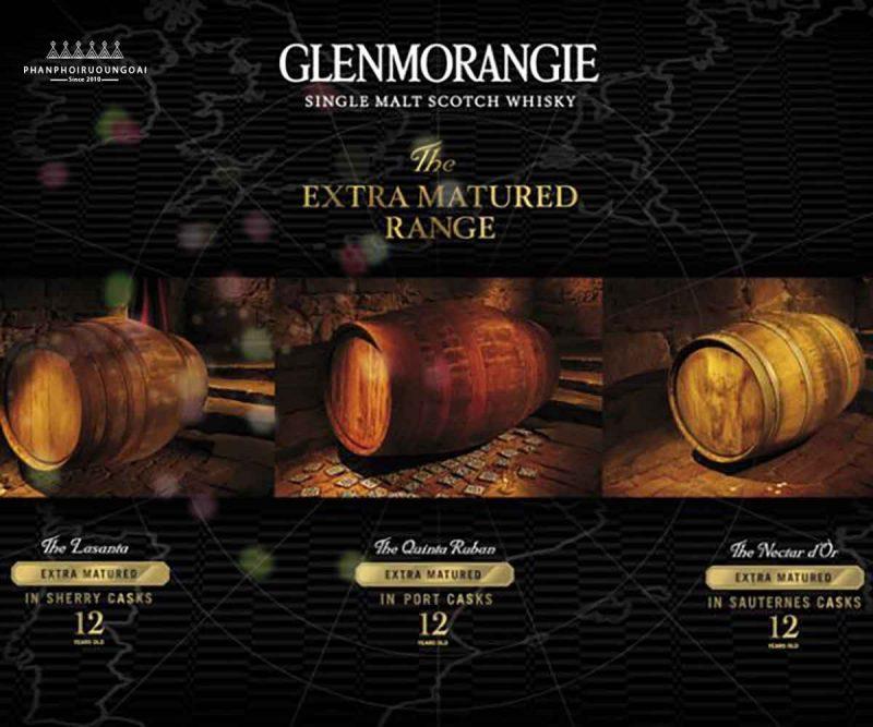 Các loại rượu Glenmorangie được trưởng thành với các loại thùng gỗ sồi khác nhau