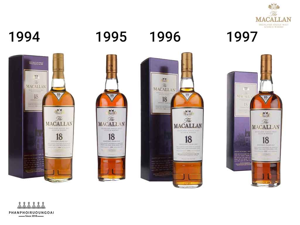 Các phiên bản của rượu Macallan 18 Sherry Oak qua các năm