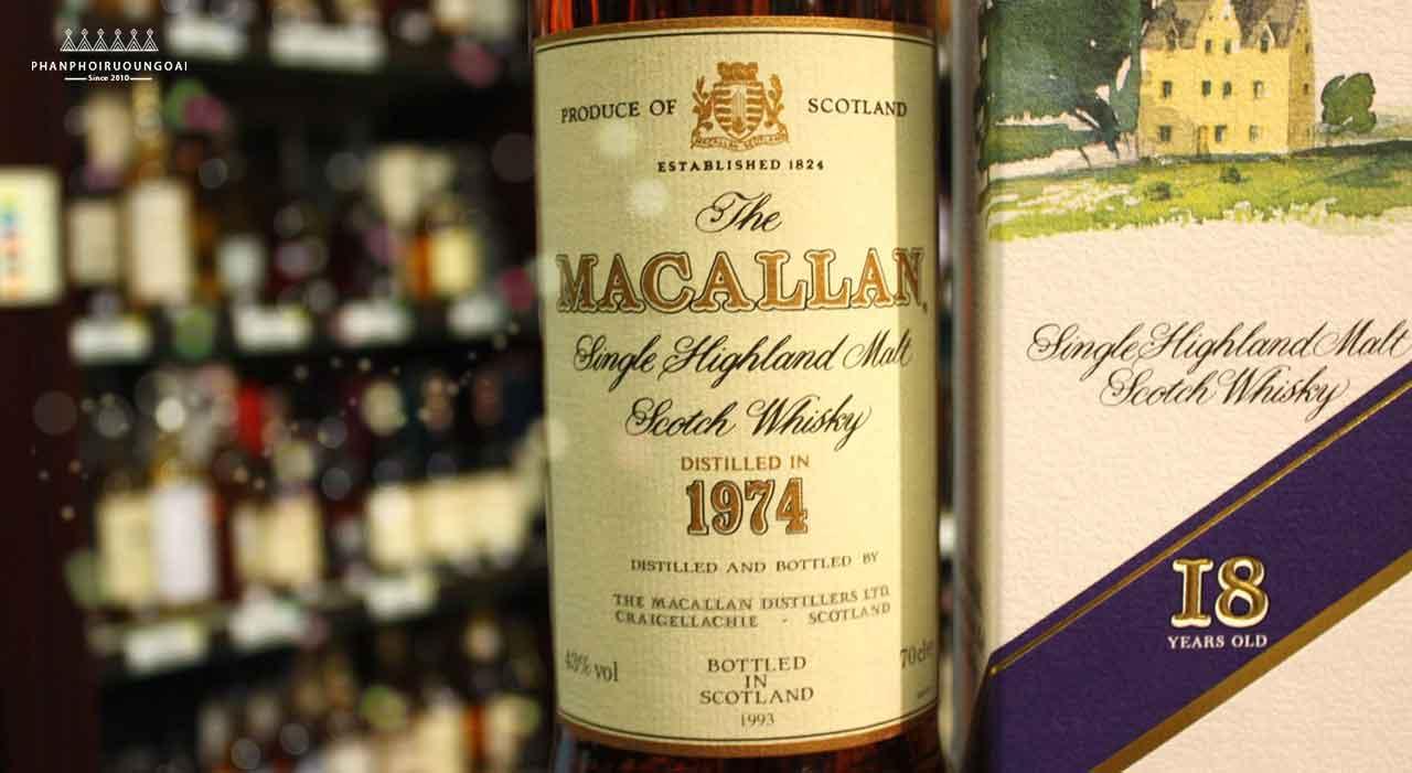 Chụp cận cảnh rượu Macallan 18 năm 1974