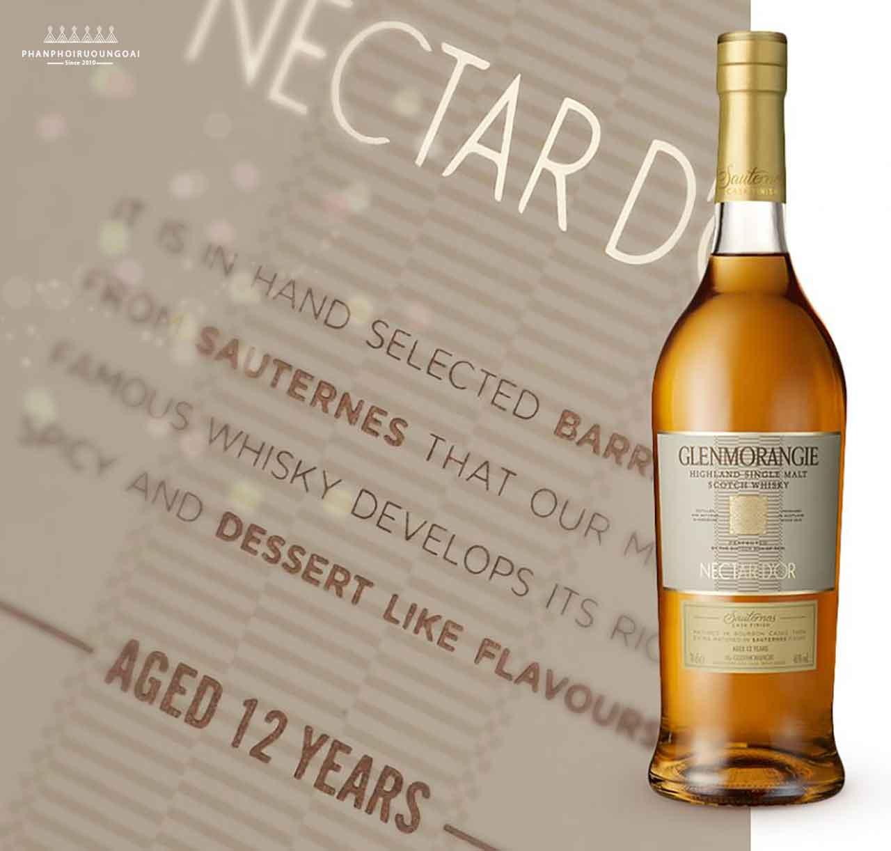 Nhãn chai rượu Glenmorangie Nectar D'Or