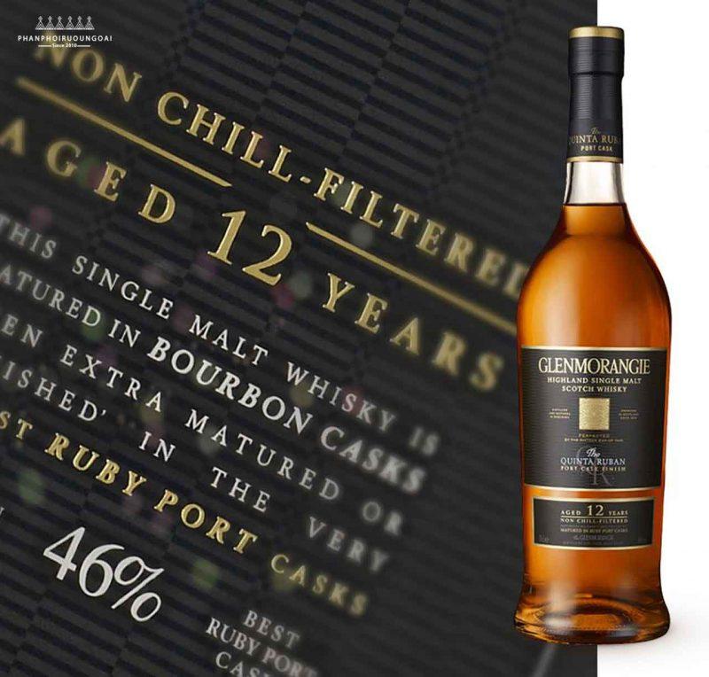 Nhãn chai rượu Glenmorangie Quitan Ruban - Single Malt Scotch Whisky