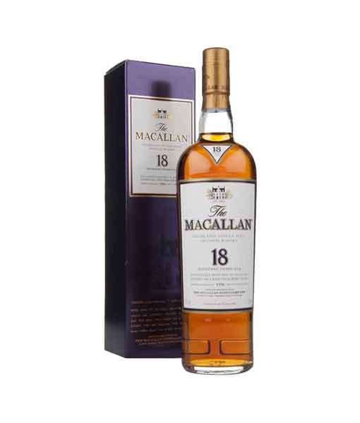 Rượu Macallan 18 Sherry Oak và hộp giấy