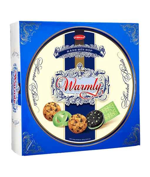 Bánh hỗn hợp hộp thiếc Warmly Xanh 350 gram