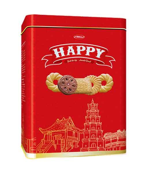 Bánh hỗn hợp hộp thiếc Happy các thành phố Hà Nội - Huế - Sài Gòn