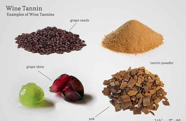 Độ chát của rượu vang đến từ vỏ nho và hạt , thùng gỗ sồi ngâm ủ