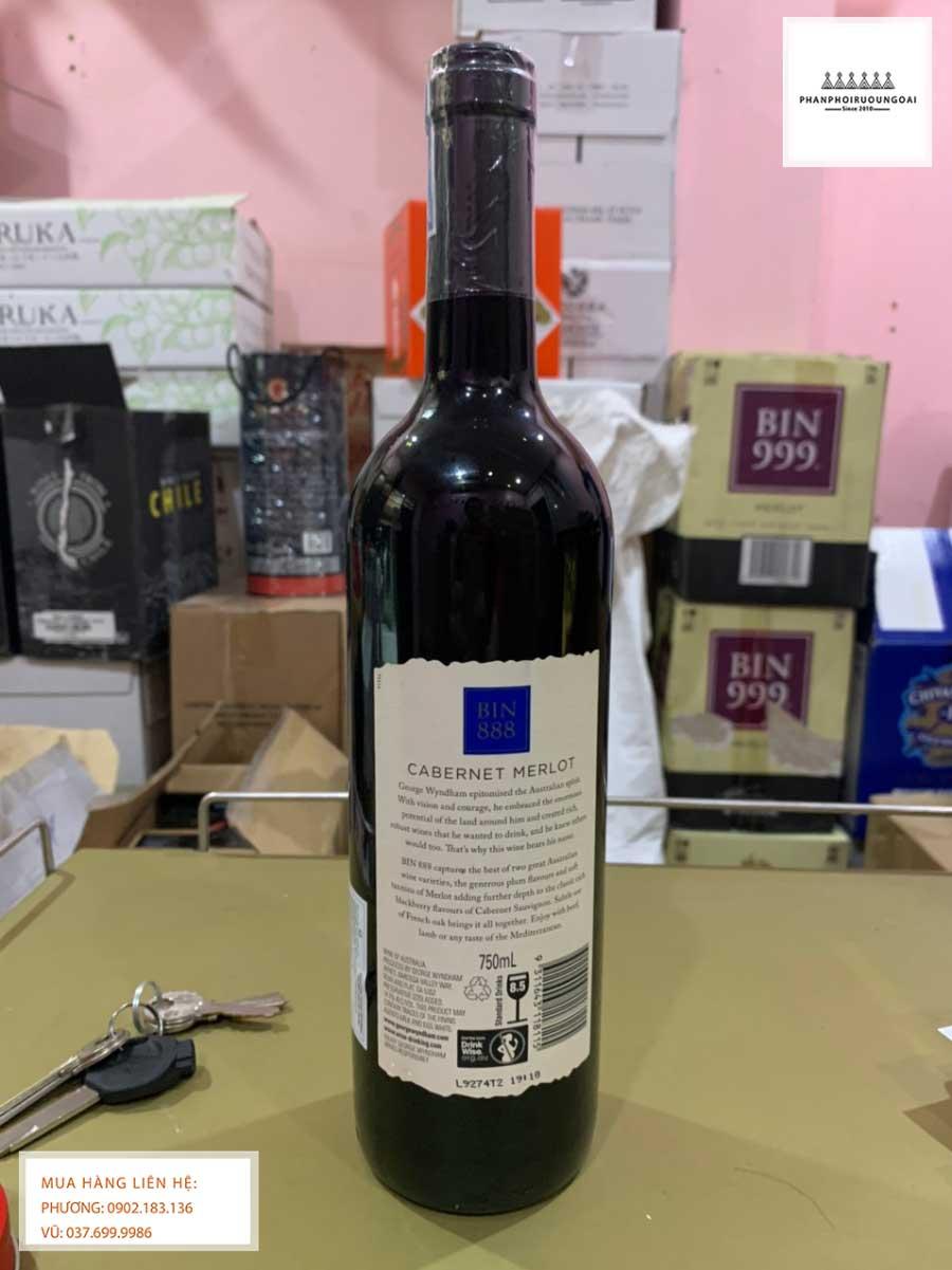 Nhãn sau chai rượu vang George Wyndham Bin 888 Cabernet Merlot