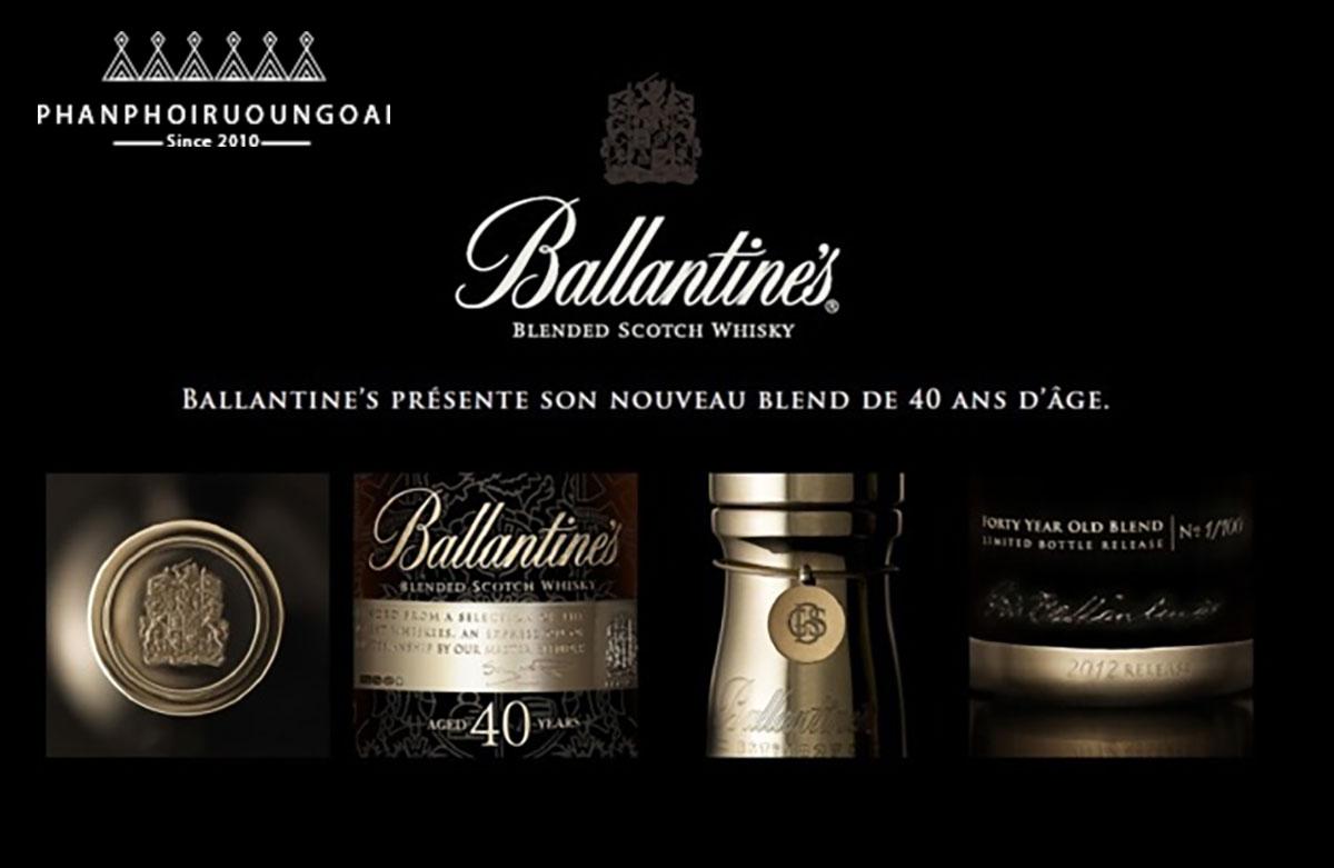 Nút chai và thân chai rượu Ballantine's 40 năm