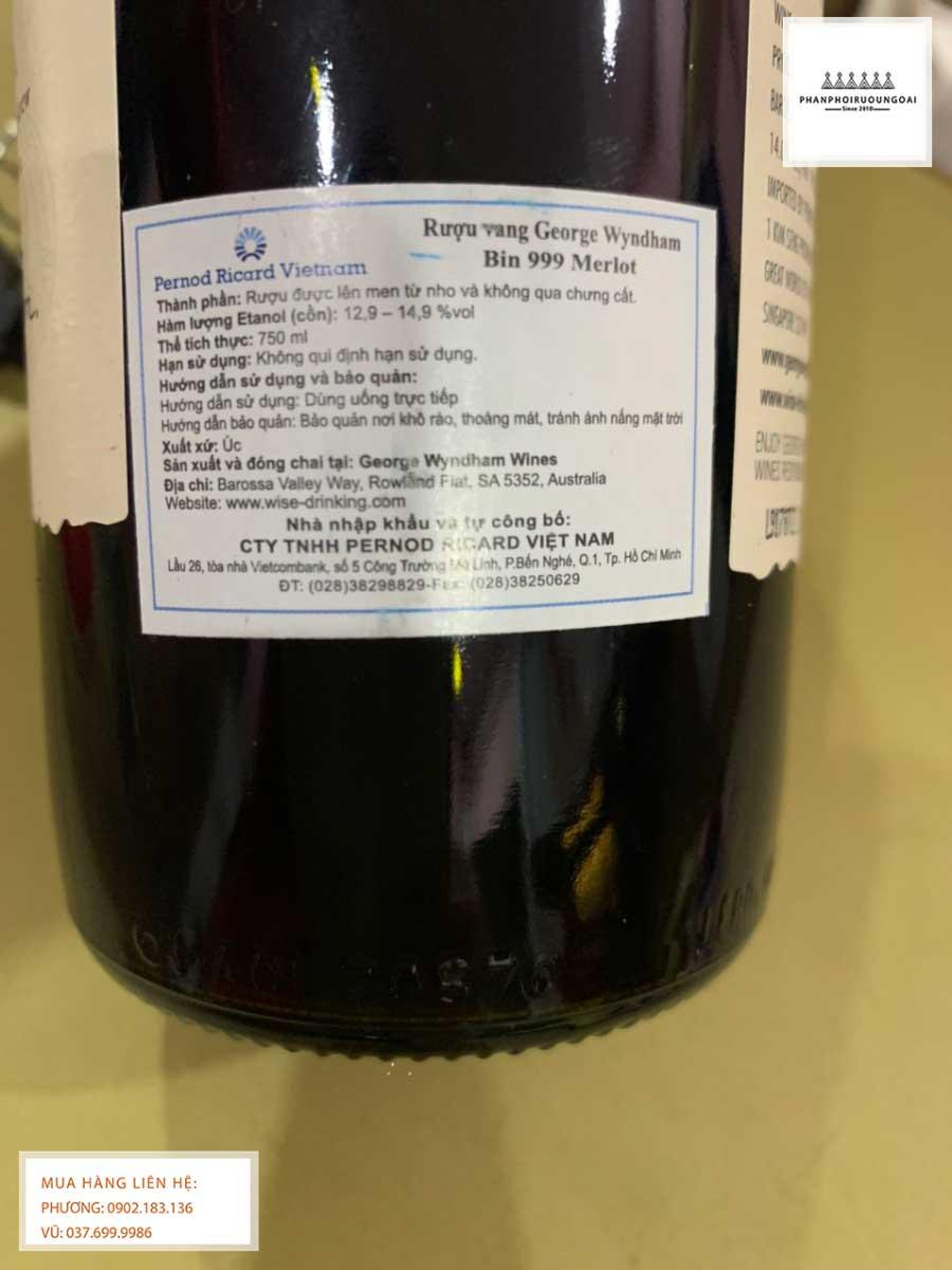 Tem phụ rượu vang Úc George Wyndham Bin 999 Merlot