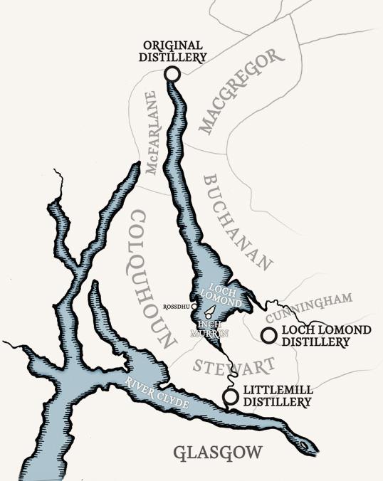 Bản đồ các thị tộc của rượu Loch Lomond
