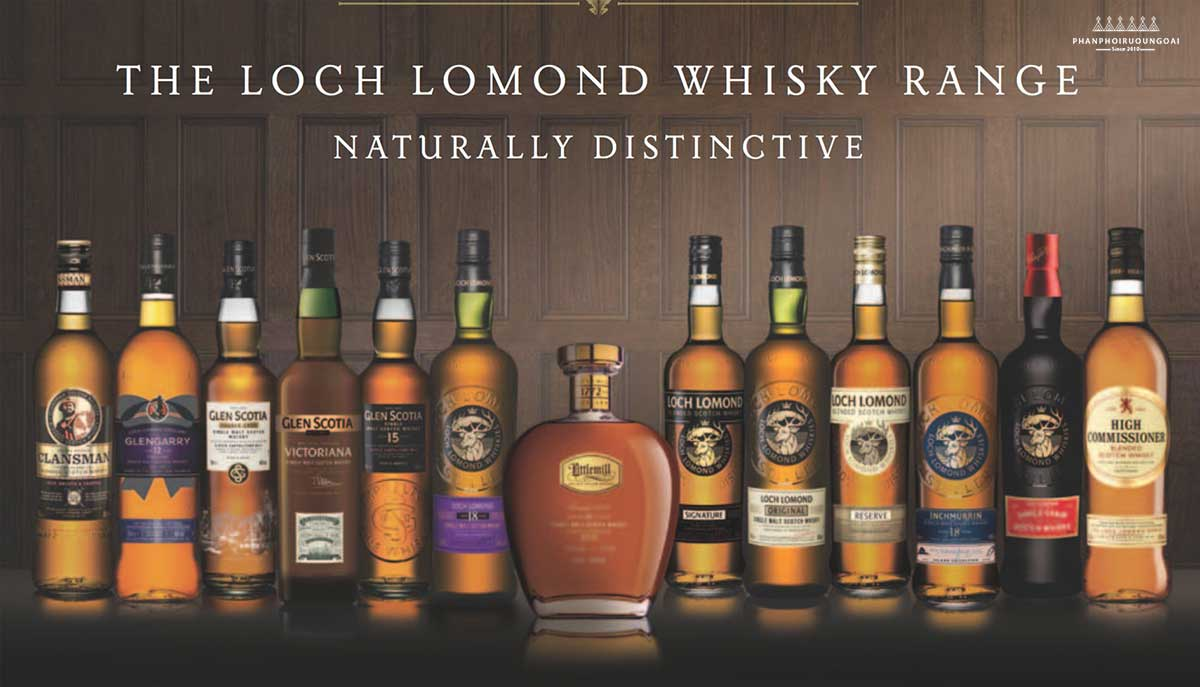 Bộ sưu tập các sản phẩm rượu của gia đình Loch Lomond