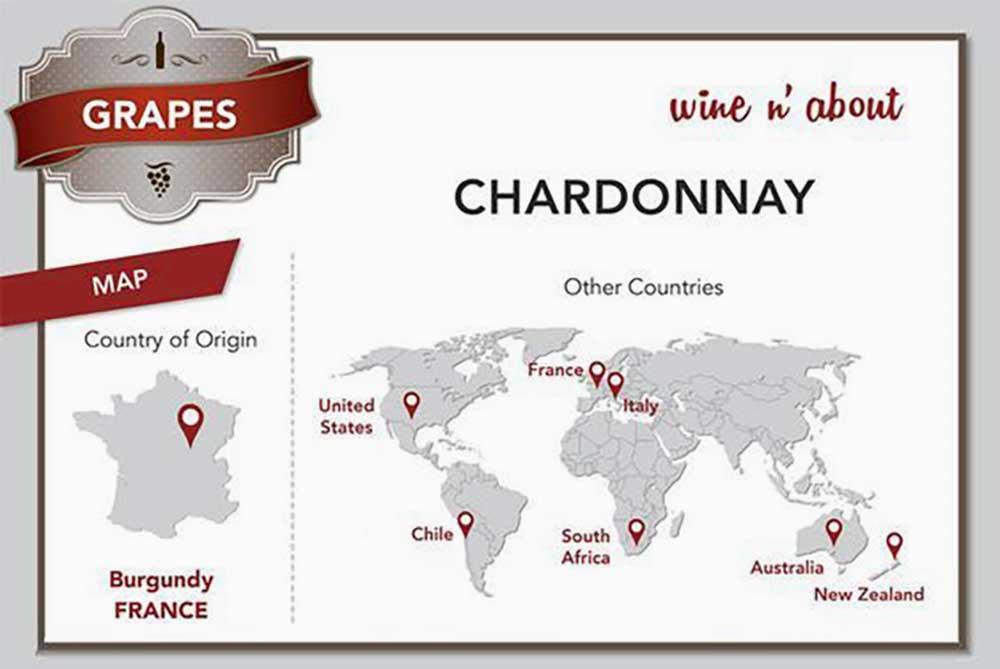Bản đồ các quốc gia các thể trồng nho Chardonnay