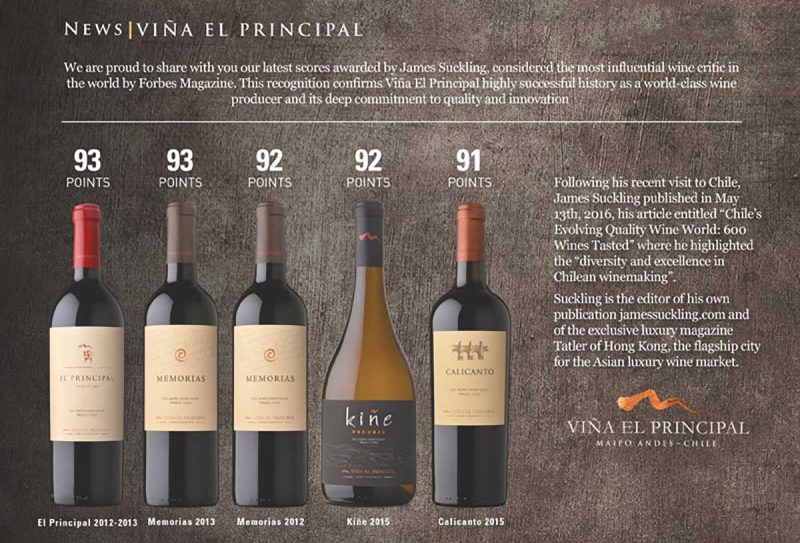 Các loại rượu vang của EL Principal và thang điểm của Jame Suckling