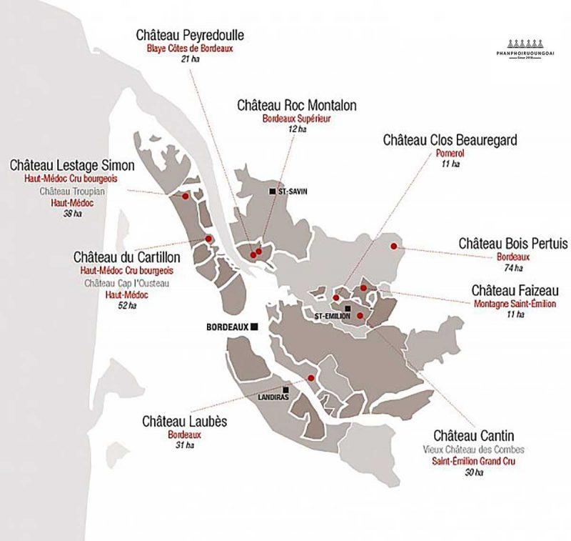 Rượu Vang Chateau Laubes trên bản đồ Pháp