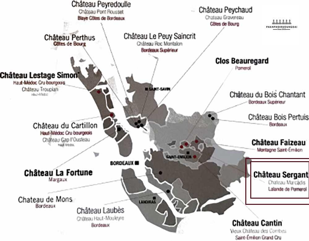 Nhà làm vang Chateau Sergant trên bản đồ vang nước Pháp