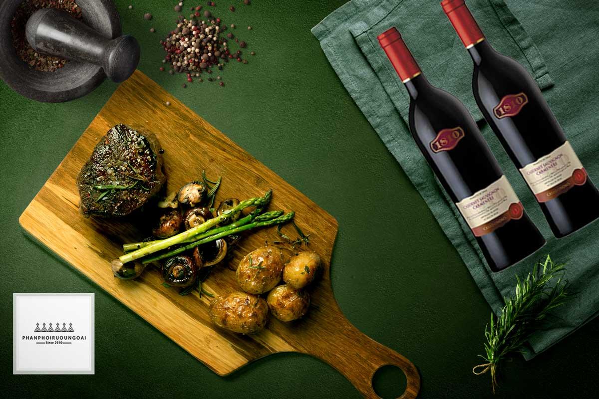 Rượu vang Casa Donoso 1810 và thịt bò