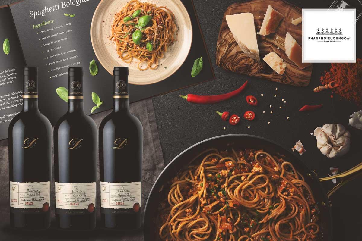 Rượu vang Casa Donoso D và Pasta