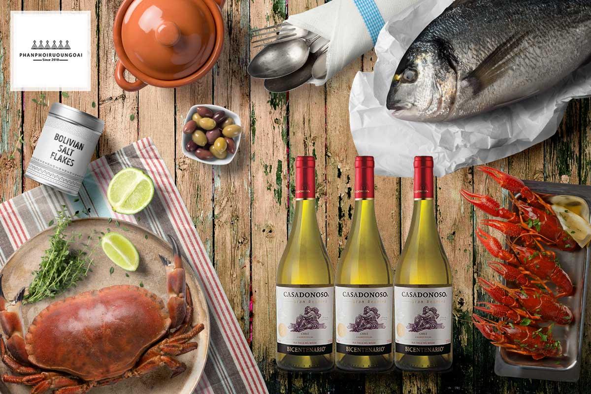 Rượu Vang Casa Donoso Bicentenario Chardonnay và các món hải sản