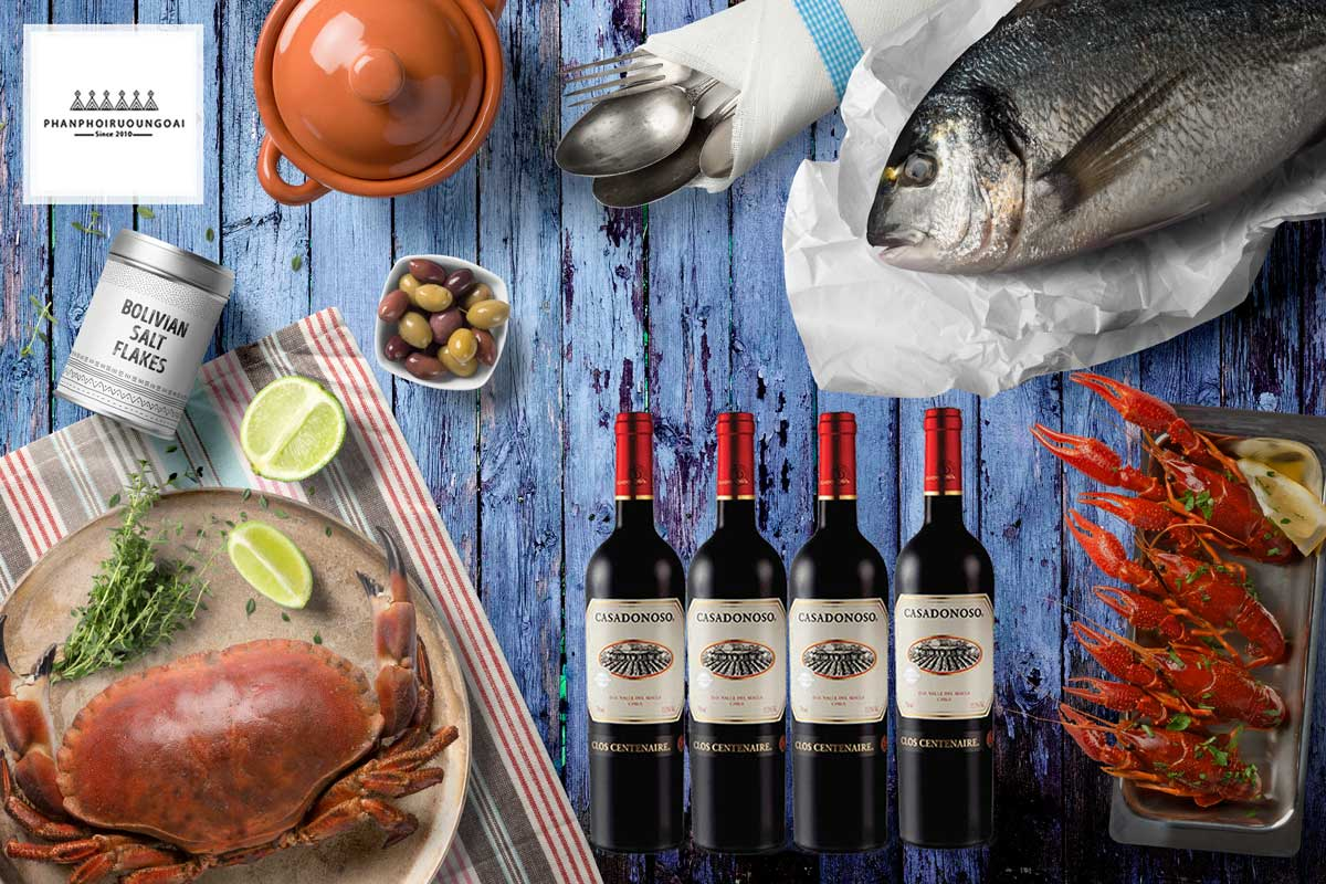 Rượu Vang Casa Donoso Clos Centenaire và hải sản tôm cua