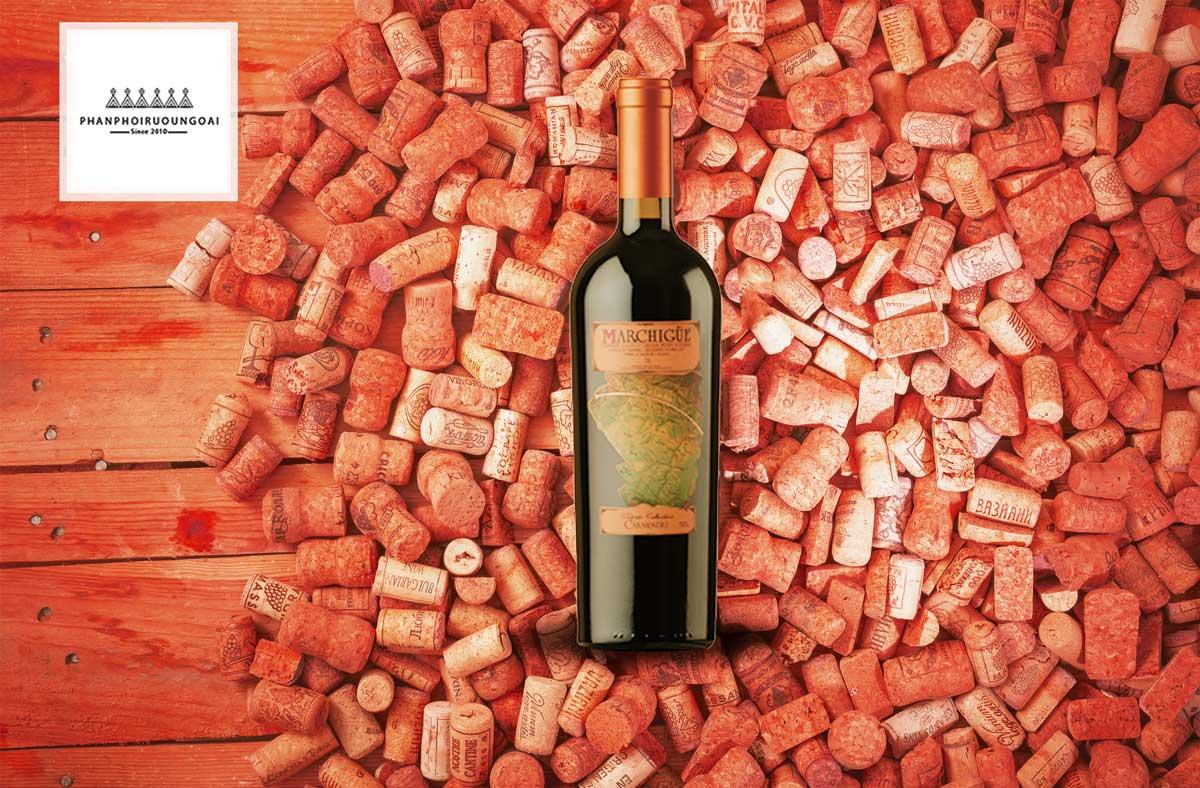 Rượu vang Marchigue Cabernet Sauvignon và nút chai