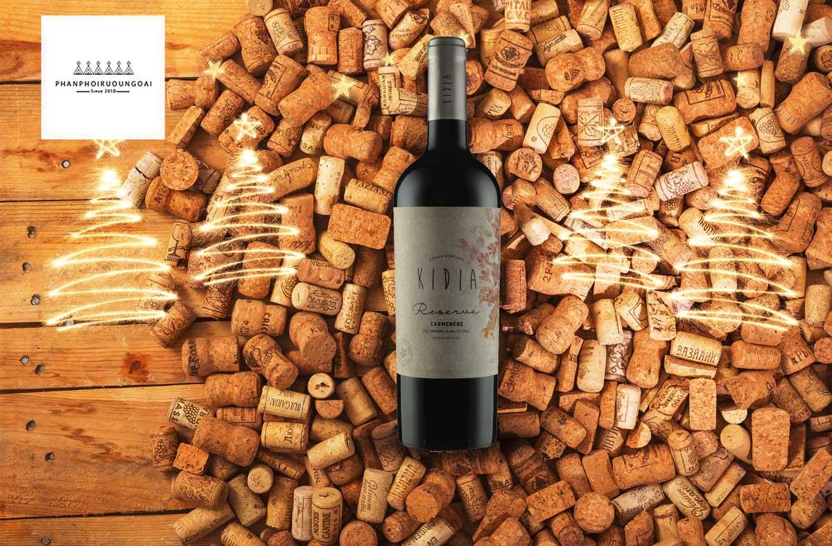 Rượu vang Chile Kidia Reserva Carmenere và nút chai