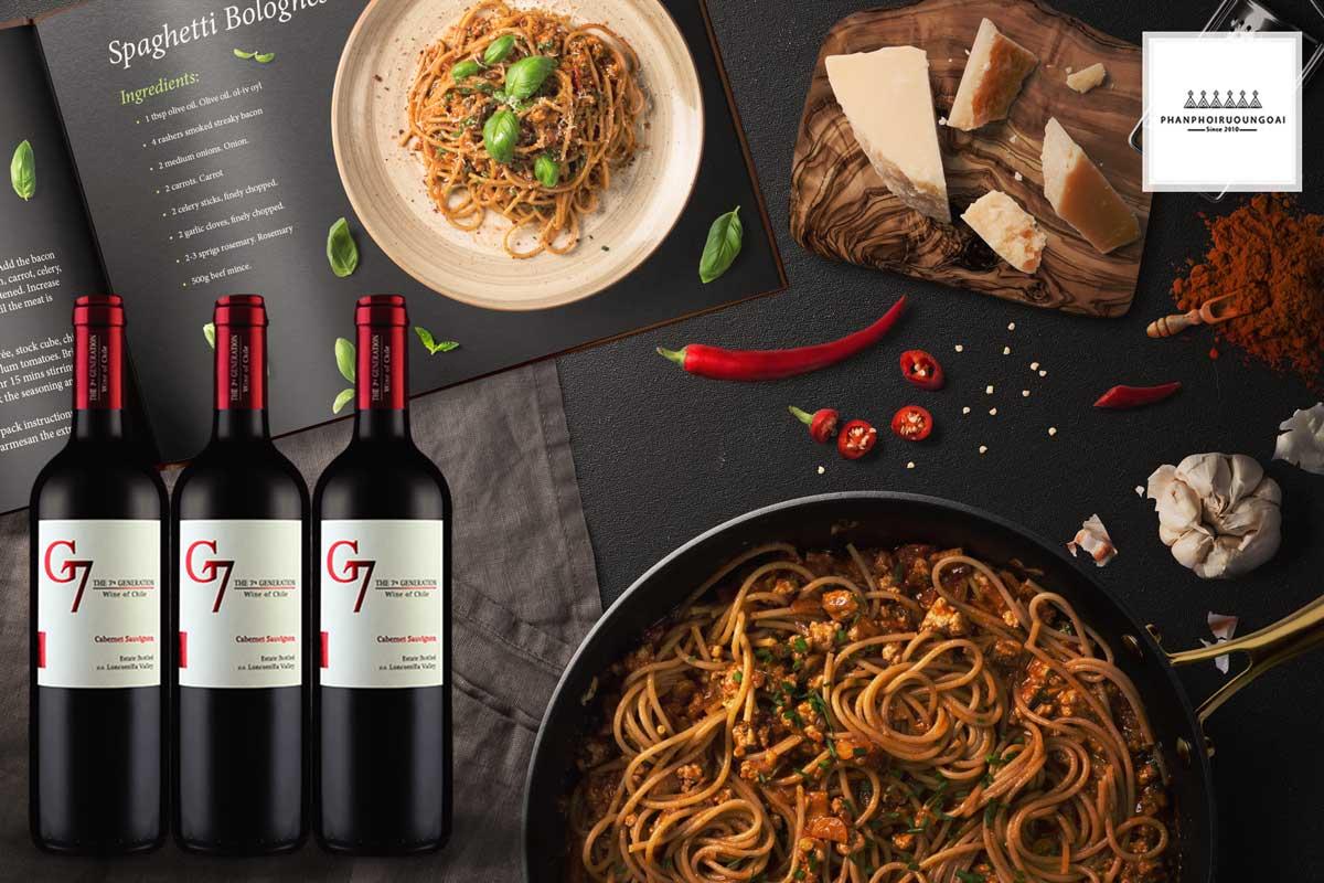 Rượu Vang G7 Cabernet Sauvignon và Pasta
