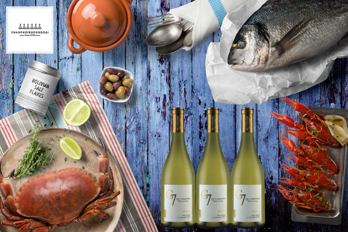 Rượu vang G7 Chardonnay phù hợp với các món hải sản