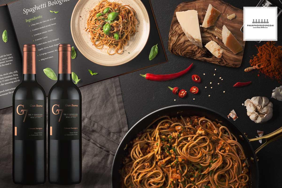 Rượu vang G7 Generation Gran Reserva Cabernet Sauvignon và Pasta