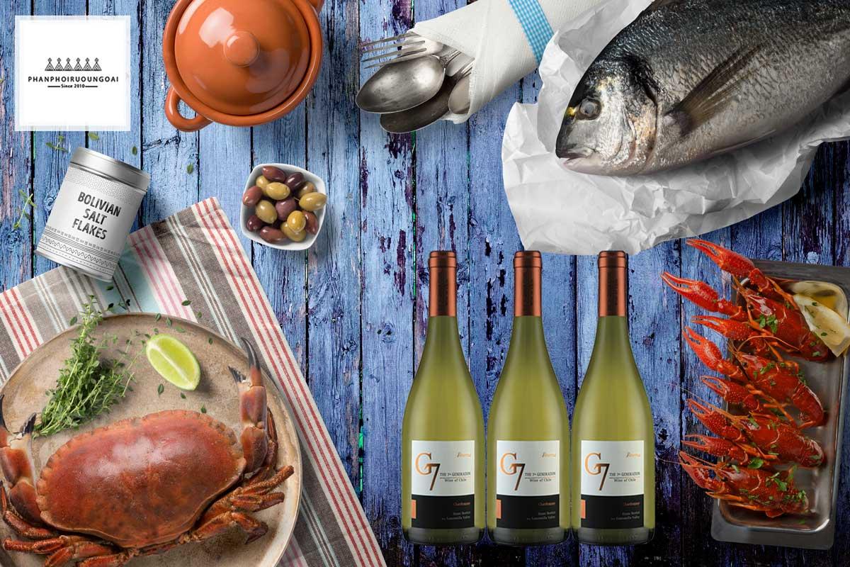 Rượu vang G7 Generation Reserva Chardonnay và hải sản