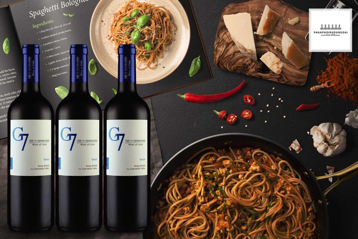 Rượu vang G7 Merlot và bữa ăn